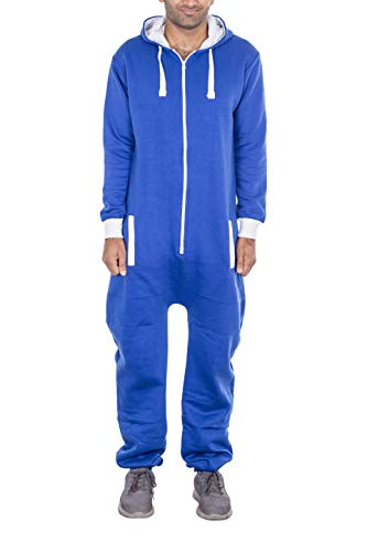 NOROZE Damen Herren Unisex Einfache Jumpsuit Overall Kapuze Pyjamas Onesie Combinaison (Herren M = Damen 40, Königsblau)
