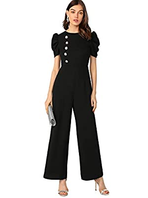 Verdusa Women's Elegant Puff Sleeve High Waist Wide Leg Long Jumpsuit Black M