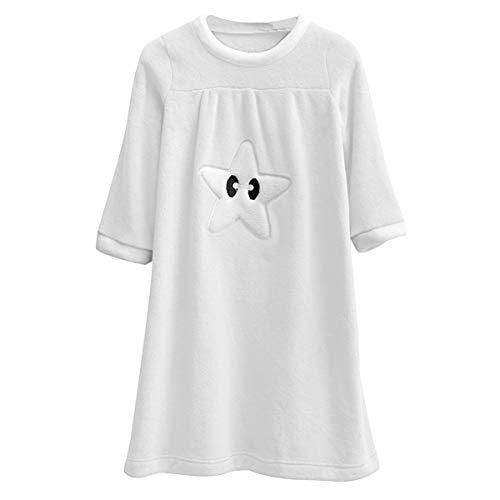 DEBAIJIA Mädchen Nachthemd 90-170CM Kind Schlafanzüge Sleepshirt Nachtkleider Schlafkleid Nachtwäsche Weich Thermisch Flanell (Weiß-100)
