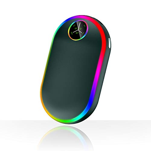 Scaldamani Ricaricabile con Luci (7 colori), 10000mAh Luminescenza Elettrico Scaldamani, Portatile USB Riutilizzabile Scaldamani Tascabile, Regalo Invernale Per Uomini Donn (Verde)