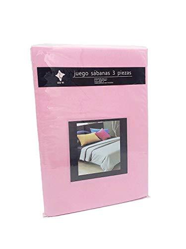LEYENDAS Juego SABANAS 3 Piezas Liso 15 Color,100% Poliester (Rosa, 150_x_200_cm)
