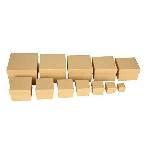 ewtshop® Geschenkboxen, 12er Set, stabiles Material mit feinem Kraftpapier überzogen, Kraftpapierboxen, auch für Scrapbooking