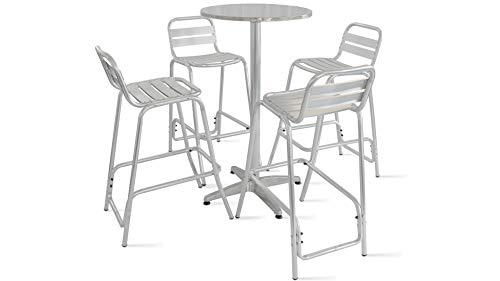 Oviala Table de Jardin Haute en Aluminium et 4 tabourets