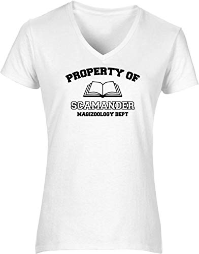 Hippowarehouse Property of Scamander magizoology dept Womens V-Neck Short Sleeve t-Shirt (Specific Size Guide in Description) Fuchsia Pink