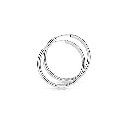 MATERIA 925 Silber Creolen Ohrringe Damen - Silbercreolen Kreolen Mädchen 30mm nickelfrei SO-379