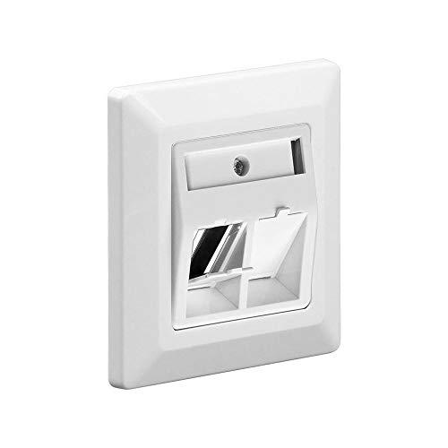 Goobay 95902 2-fach Einbaurahmen für Keystone Module wie z.B. CAT, SAT, LAN, HDMI, USB, weiß