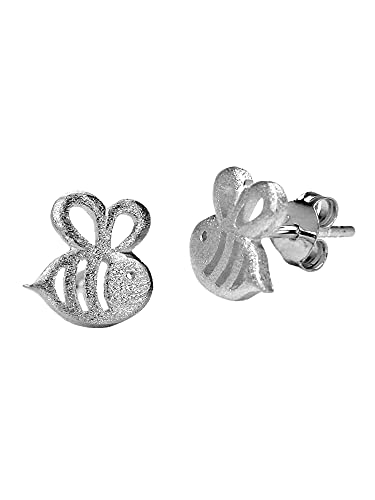 Kleine Ohrstecker Biene Bee - Silber 925 Sterling - Mädchen Ohrringe Stecker - 0,9cm Klein