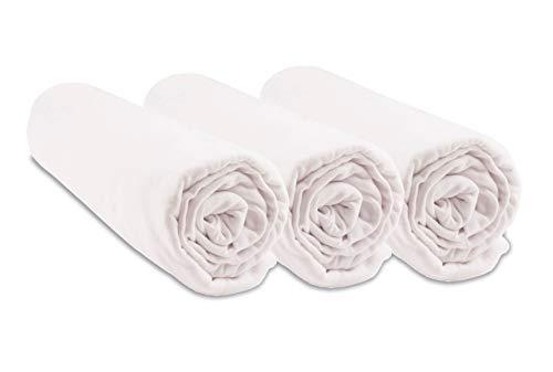 Lot de 3 Draps housse Coton Bio pour lit bébé 60x120-2 coloris disponibles (Blanc)