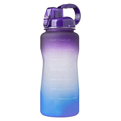 Jodimitty Botella de agua con pajita y asa, botellas de agua a prueba de fugas, sin BPA, cierre de 1 clic, gran jarra de agua deportiva para gimnasio, viajes y exteriores (lila azul, 3,8 L)