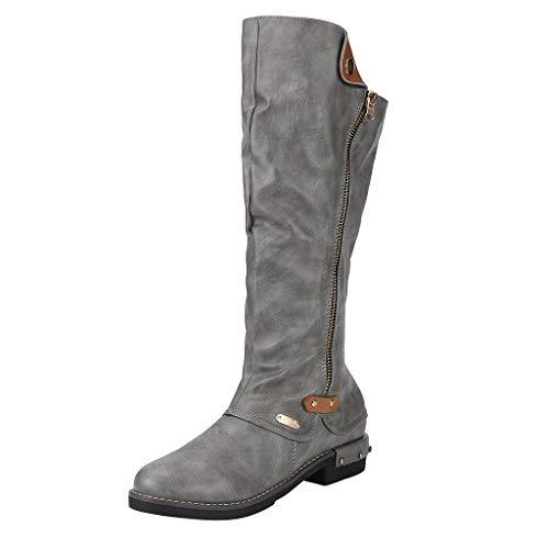 Andouy Damen Winterstiefel Mode Faux-Fellstiefel Hohe Stiefel Reißverschluss Reitstiefel(37 EU,Grau)