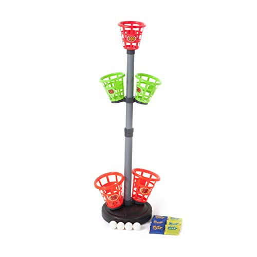 Sport Squad Precision Basket Tower Toss - Bean Bag Toss Game for Adults and Kids - Indoor or Outdoor Use - Throw The Included Bean Bags and Ping Pong Balls into Bucket Targets to Score Points