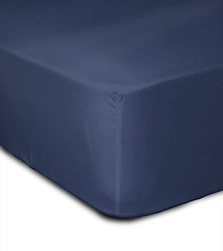 Home Linge Passion Drap Housse 57 Fils, Coton, Bleu, 140x190x25 cm HP-62643