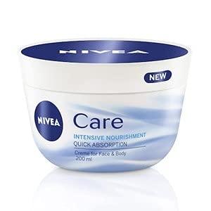 NIVEA 1er Pack Creme für Körper & Gesicht, 1 x 200 ml Tiegel, Care Intensive Pflege, zieht schnell ein, feuchtigkeitsspendend