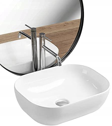 REA Lavabo sobre encimera de cerámica para lavabo, rectangular, color blanco, 32 x 45 cm, con nanorrecubrimiento