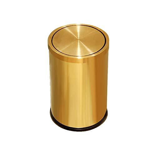 SXZHSM RVS Prullenbak Schommel Over Het Deksel Goud Met Een Afvalpapier Mand Thuis Keuken Badkamer Prullenbak 19,5 x 31 cm prullenbak
