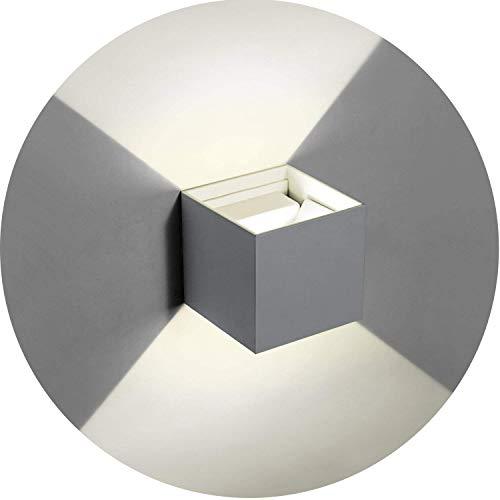 Topmo-plus 6w Lámpara de pared LED Luces de pared de aluminio ajustables ligeros Aplique interior/Externo corredor/jardín impermeable IP65 10CM 660LM (gris/Blanco natural)