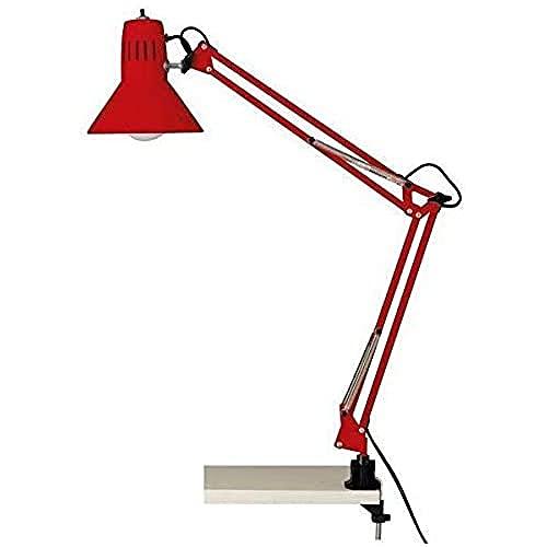 Brilliant Hobby - Lámpara de mesa con pinza de color rojo.