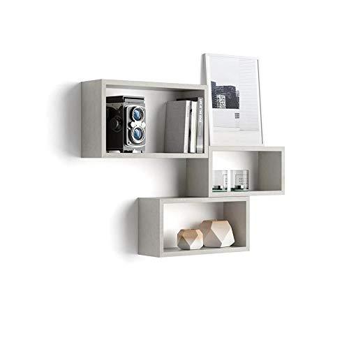 Mobili Fiver, Cubi da Parete Rettangolari, Set da 3, Giuditta, Grigio Cemento, Nobilitato, Made in Italy, Disponibile in Vari Colori