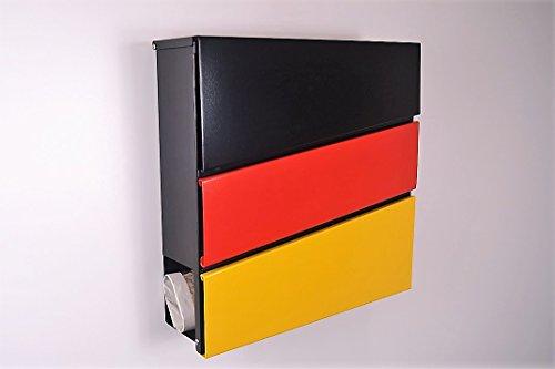 Designer brievenbus/mailbox/model 333 Duitsland vlag met krantenvak/ALLEEN 1 x VERZENDKOSTEN VOOR ALLE BESTELLINGEN SAMEN!