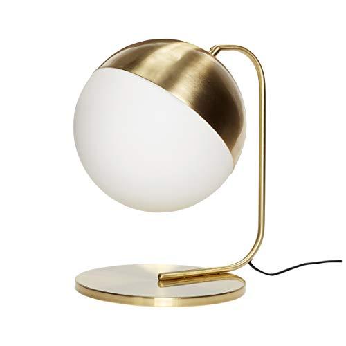 HÜBSCH - Lampe a poser boule verre blanc opalin laiton hubsch