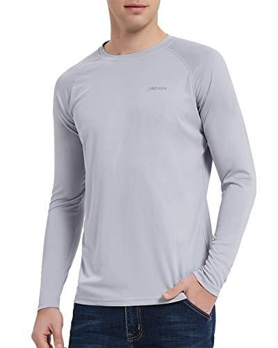 Jimilaka Men's UPF 50+ UV Sun Protection Outdoor Athletic Workout Long Sleeve Performance T-Shirt (Grey, Large)