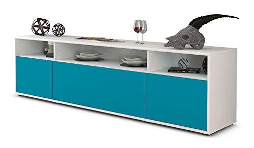 Stil.Zeit TV Schrank Lowboard BIANCA, Korpus in Weiss Matt/Front im Exklusiven Lagunenblau (180x49x35cm), mit Push-to-Open Technik, Made in Germany
