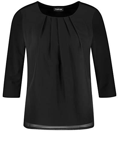 Taifun Damen T-Shirt 3/4 Arm Langarmshirt, Schwarz (Black 1100), 42