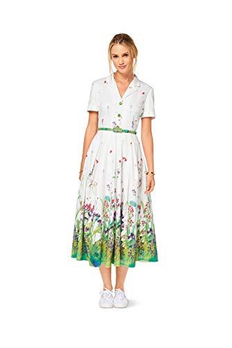 Burda 6520 Schnittmuster Kleid im Hemdblusenstil mit Faltenrock (Damen, Gr. 34-46) Level 3 mittel