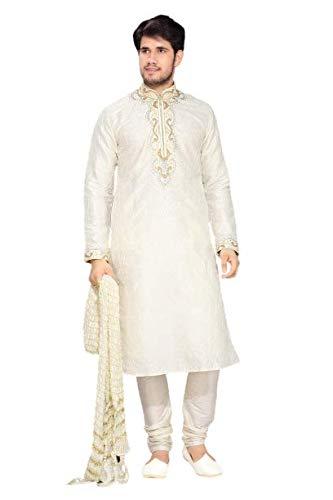 Paridhanlok Mens Crush Silk Dupatta Stole Bandanna Chunni for Sherwani Kurta (White Color)