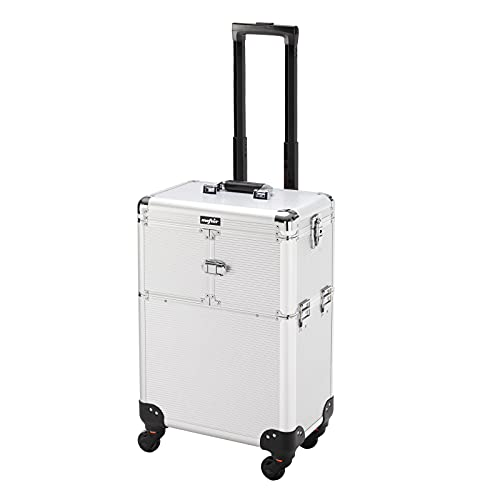 OmySalon Makeup Train Case Rolling Cosmetic Case Lockable Travel Case Beauty Trolley with 4 Wheels, Mirror, Ideal Gift for Girls, Womens,Professional Artists (Grey)