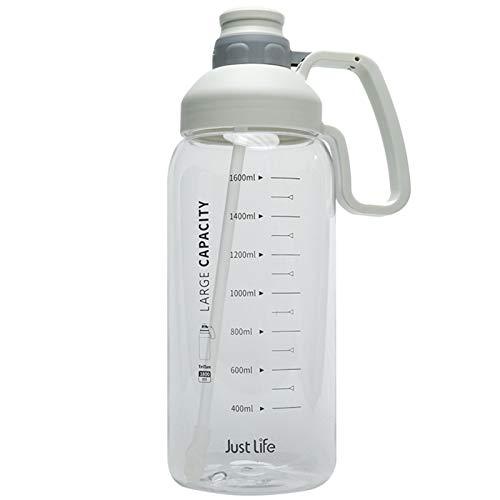 Botella de Agua con Pajita, Botella para Beber de Gran tamaño para Fitness, Tipo de protección Ambiental con asa, Transparente, Duradera (2000 ml)