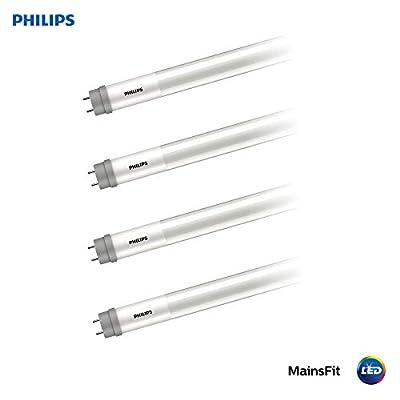 Philips LED 538371 Ballast Bypass 4-Foot T8 Tube Glass Light Bulb: 1800-Lumen, 4000-Kelvin, 14 (32-Watt Equivalent), Medium Bi-Pin G13 Base, Frosted, Cool White, 4-Pack, 4, 4 Piece