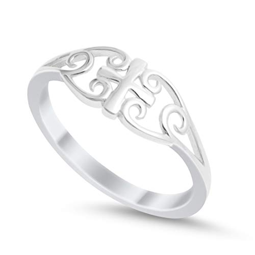 Cross Ring 925 Sterling Silver Filigree Celtic 4-10, Size-5