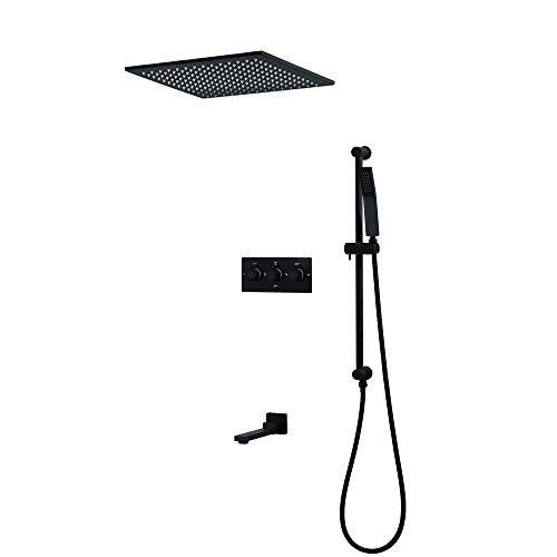 ZJINHUI 20-Zoll-Duschsystem, 3-Funktions-Thermostat-Duschsystem mit Handbrause, Regenduschkopf zur Deckenmontage, Brausehubhalterung und drehbarem Wasserhahn,A20inch