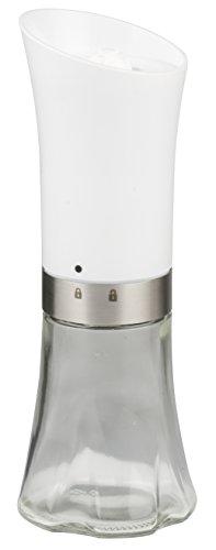 Alpina Automatische zout- en pepermolen, roestvrij staal, wit, 7,5 x 7,5 x 21 cm