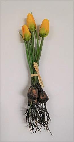 3 x Tulpe mit Zwiebel Frühling Seidenblume Kunstblume gelb 1116049-30 F64