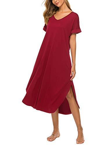 Women Ultra Soft Night Gown Comfy Cotton Pajama Shirts Sleepwear Sleeping Dress Wine Red M