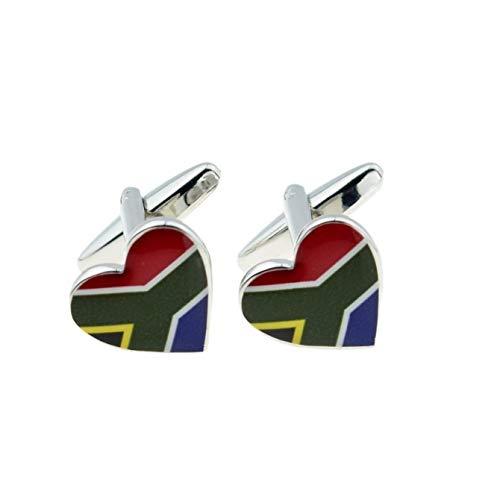 Zuid-Afrikaanse vlag hart manchetknopen met geschenkdoos & verzonden uit het Verenigd Koninkrijk