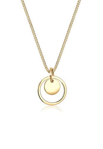 Elli Halskette Damen Kreis Plättchen Anhänger Geo in 925 Sterling Silber