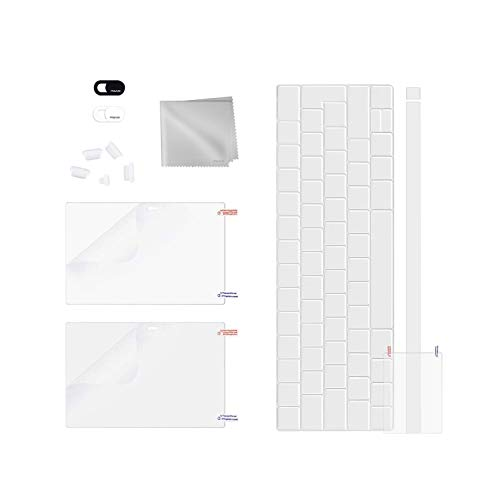 MOSISO Full Protection Kit Compatible with MacBook Pro 13 Touch Bar 2016-2019 A2159/A1989/A1706, Screen/Trackpad Protector & TPU Keyboard Cover & Dust Plug & Cleaning Cloth & Webcam Anti-Spy Cover