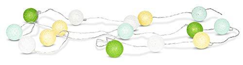levandeo 15er Lichterkette LED Kugeln Lampions Baumwolle Grün Gelb Weiß Cotton Girlande Deko Cottonballs