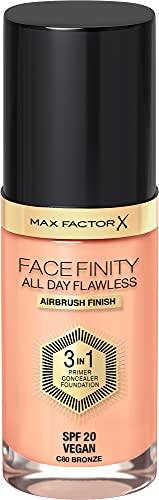 Max Factor Facefinity All Day Flawless 3 in 1 Foundation in Bronze 80 – Primer, Concealer & Foundation in einem – Für ein perfekt mattiertes Finish – 1 x 30 ml