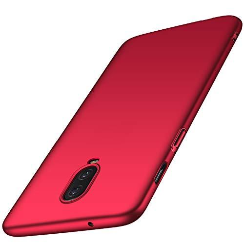 Anccer Funda OnePlus 6T, Ultra Slim Anti-Rasguño y Resistente Huellas Dactilares Totalmente Protectora Caso de Duro Cover Case para OnePlus 6T (Rojo Liso)