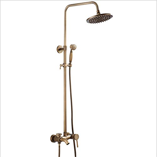 Set doccia Antico, con 3 funzioni modalità uscita acqua, Colonna doccia in ottone, con doccia a pioggia rotonda da 8 pollici, Design Anti-scottatura, Colore Antico, montaggio a parete