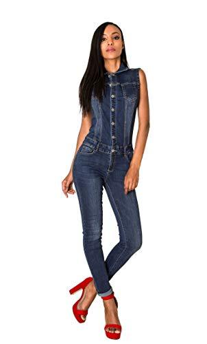 Nina Carter Art. S336 Damen Ärmelloser Jeansoverall Jumpsuit Skinny Fit Denim-Overall (Dunkelblau, XL)