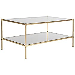 Amazon Safavieh Home Collection Aslan Gold rectangular glass Coffee Table