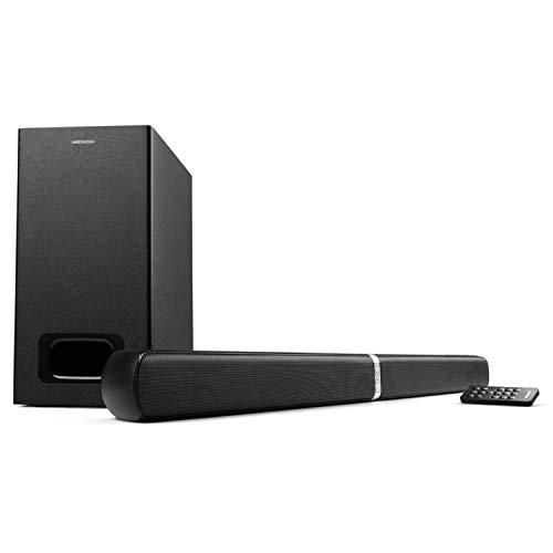 MEDION E64126 2in1 Convertible Bluetooth 3.0 TV Soundbar inkl. Subwoofer (2 x 15 Watt, 30 Watt Subwoofer, NFC, AUX, optischer Eingang, HDMI ARC mit CEC)