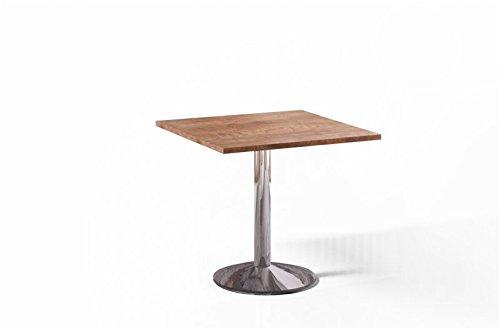 Esstisch Nussbaum 80x80cm quadratisch Chrom Bistrotisch Küchentisch 80x80 Design