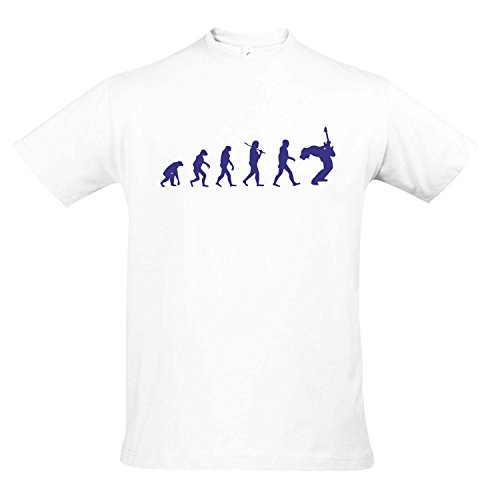 T-Shirt - Evolution - Gitarre Musik Guitar Fun Kult Shirt S-XXL, White - blau, L