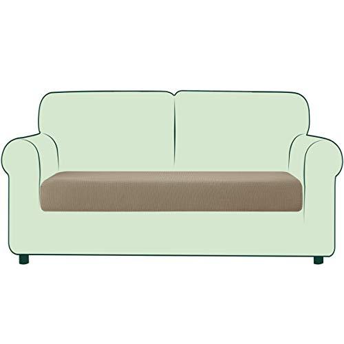 CHUN YI 1 Stück Sofa Sitzkissenbezug Stretch Sitzkissenschutz Elastischer Husse Überzug für Sofa Sitzkissen rutschfest Stoff Möbelschutz(2-Sitzer, Sand)